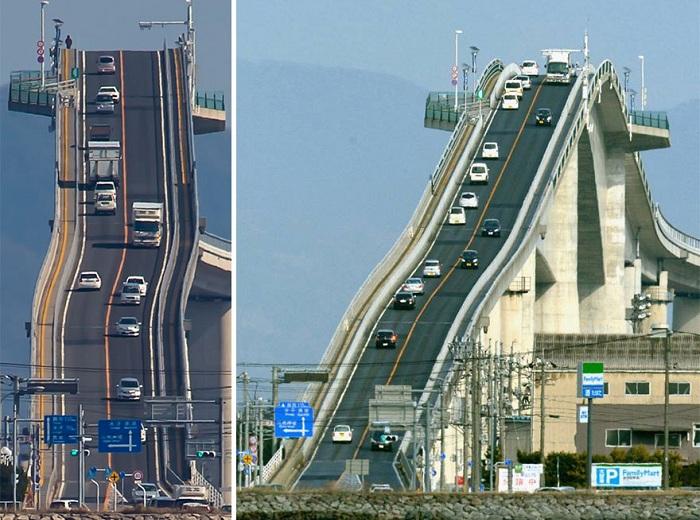 Eshima Ohashu - мост между двумя городами.