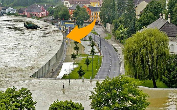 Металлический забор, который остановит наводнение.