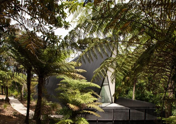 Tent House скрывается за тропической растительностью Новой Зеландии.