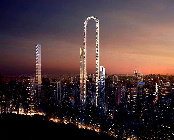 В Нью-Йорке могут реализовать строительство небоскреба в виде арки.