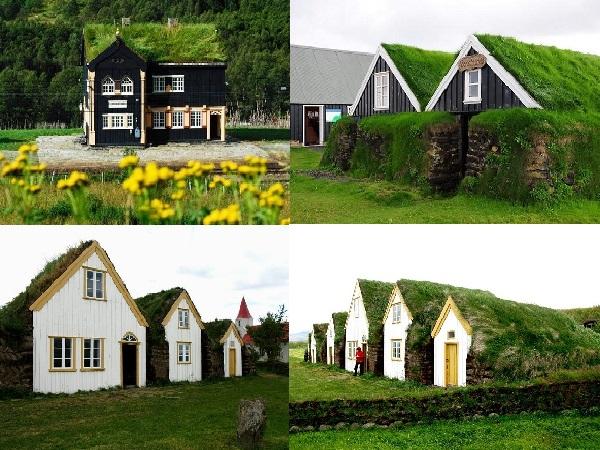 Дома с торфяными крышами.