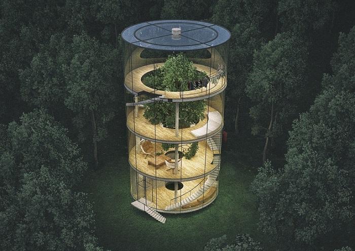 4-этажный стеклянный дом, расположенный в окрестностях Астаны.