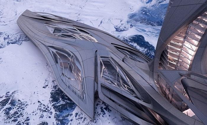 Футуристический дизайн морского порта в Антарктиде.