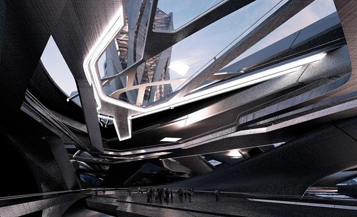 Внутреннее оформление пространства в здании порта.