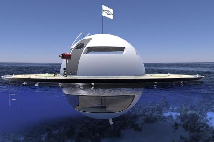 UFO - концепт яхты в виде летающей тарелки.