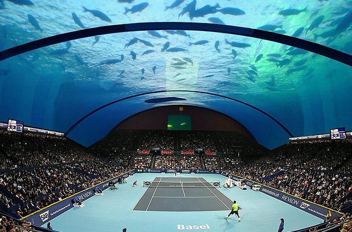 Теннисный корт под водой. Концепт.