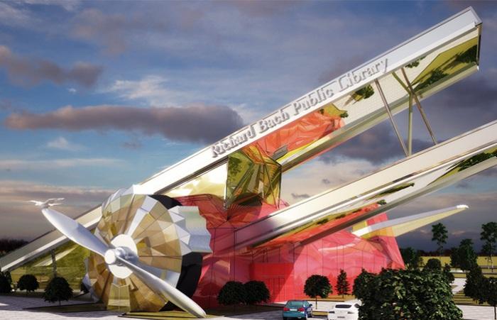 Библиотека в виде ретро-самолета.