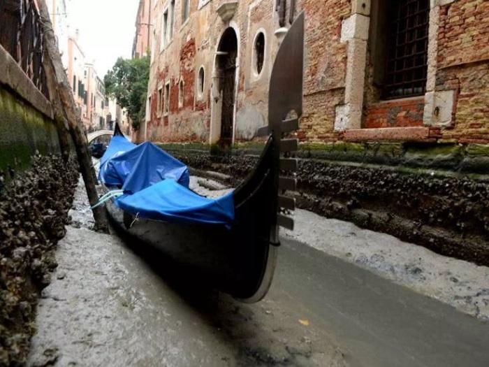 Каналы в Венеции остались без воды.