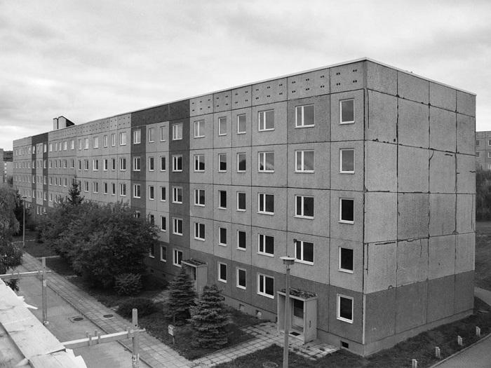 Панельный дом в Лайнефельде до реновации.