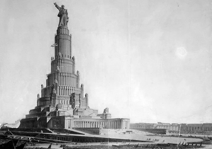 Дворец Советов - пример монументального строительства СССР.