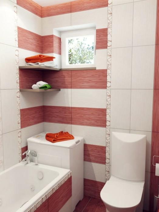 Пример использования яркой палитры для оформления ванной комнаты.
