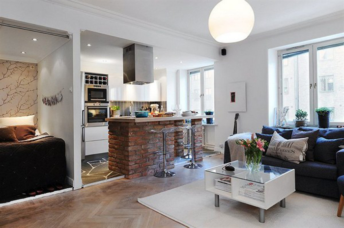 Дизайн гостиной и кухни в одной комнате