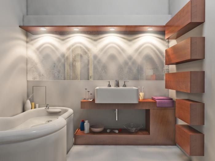 Оформленная при помощи освещения ванная комната.