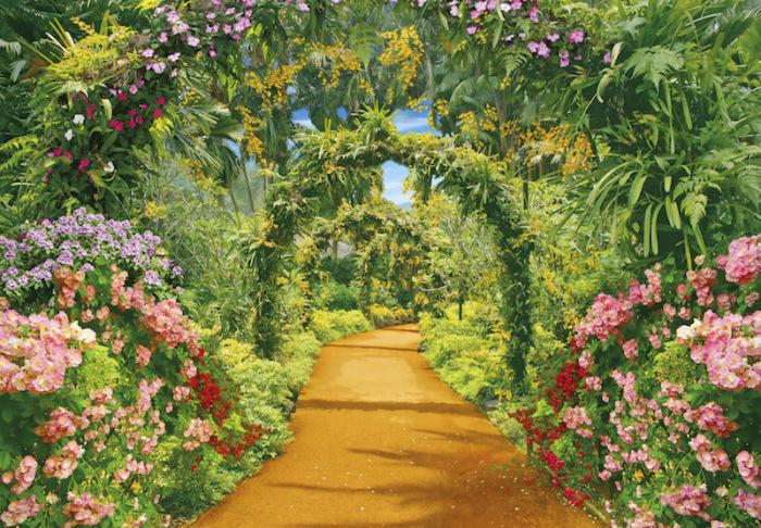 Интересное сочетание каменной дорожки и металлической арки, обвитой вьющимися растениями и цветами.