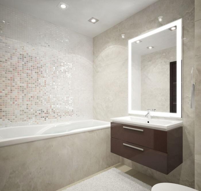 Использование неоновой подсветки служит дополнительным освещением в ванной комнате.