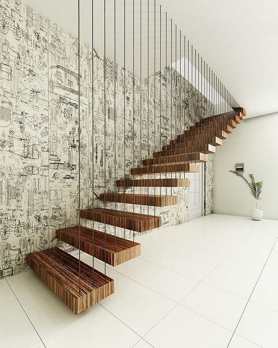 Стильная лестница, сделанная из тонких металлических прутьев и массивных деревянных брусков.