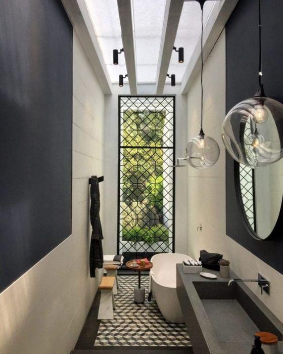 Ахроматические цвета в интерьере ванной комнаты.