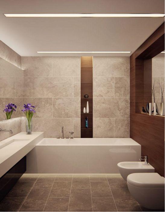 Ванная в стиле минимализм, которая отличается изысканностью и простотой.