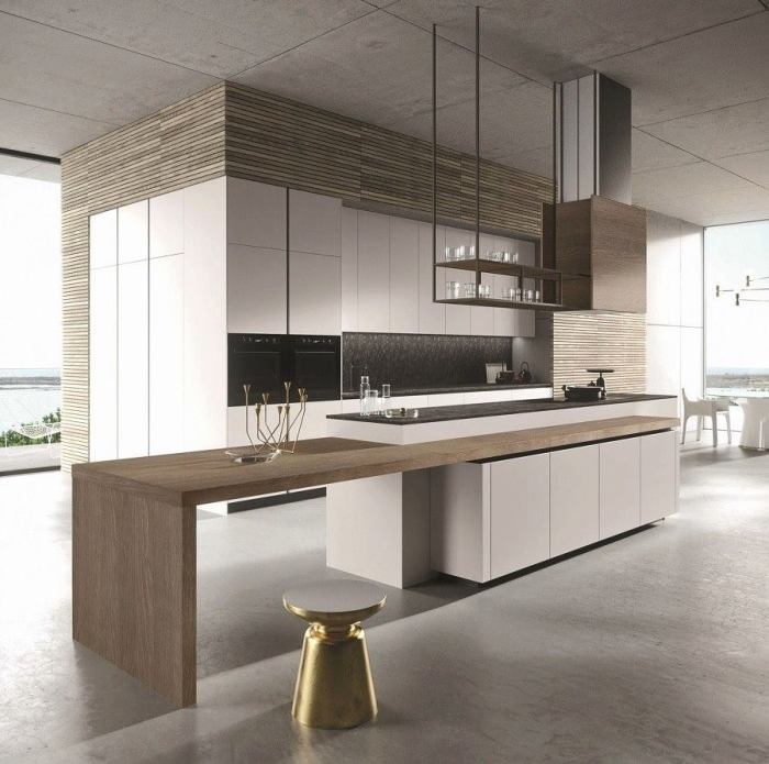 Просторная кухня в стиле минимализм будет выглядеть ультрасовременно, если оформить её в классических светлых оттенках.