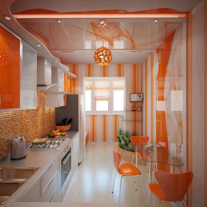 Дизайн кухни в оранжевом цвете - оригинальное и смелое решение.