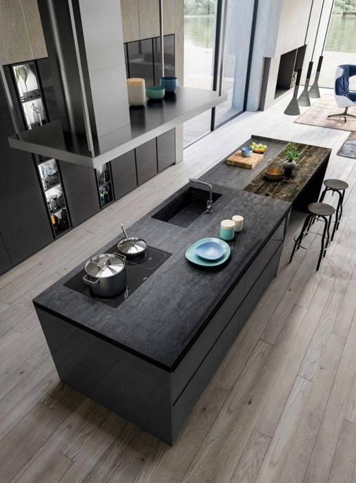 Контрастный кухонный остров – это универсальная и очень функциональная деталь кухонного интерьера.