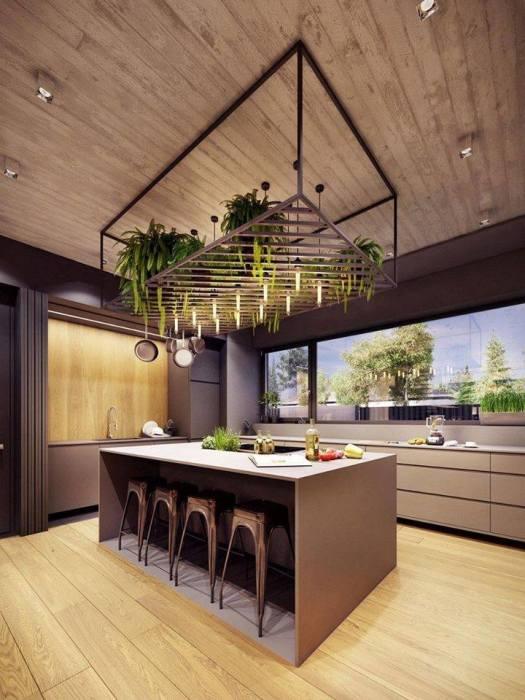 Для оформления кухни в экостиле выбирают светлые породы древесины.