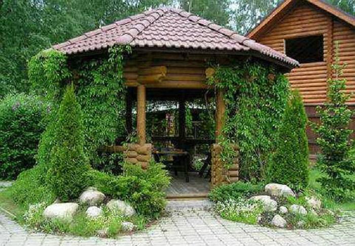 Идеальный вариант беседки с растениями, рельефом и малыми архитектурными формами.