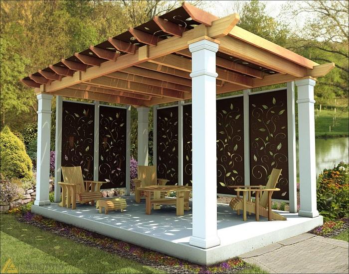 Деревянная пергола, которая расширяет жилое пространство на открытом воздухе.