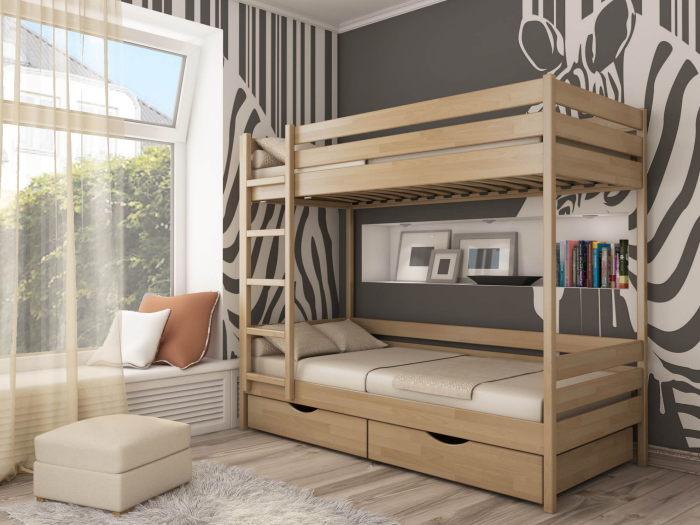 Один из наиболее популярных вариантов деревянной двухъярусной кровати.