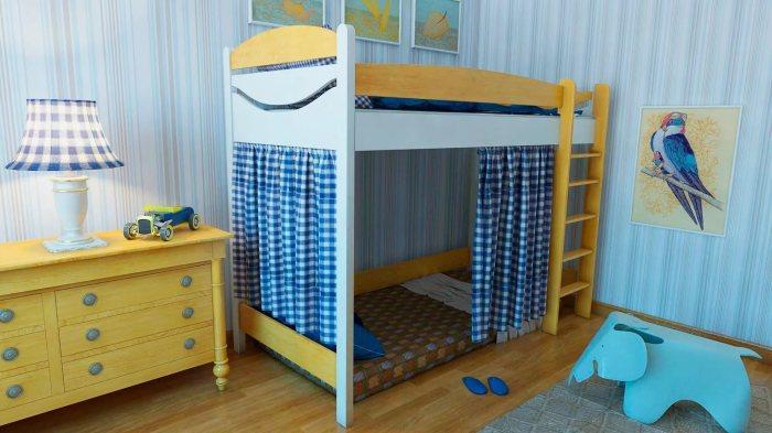 Чудесная кровать-чердак, которая выполнена из натуральной древесины, со спальным местом вверху и зоной отдыха внизу.