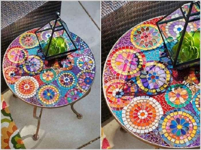 Благодаря мозаике из битой облицовочной плитки обыкновенный стол можно превратить в произведение искусства.