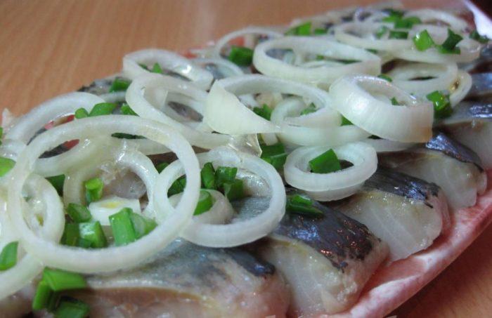 Классический рецепт сельди с луком, которая маринуется в уксусе.