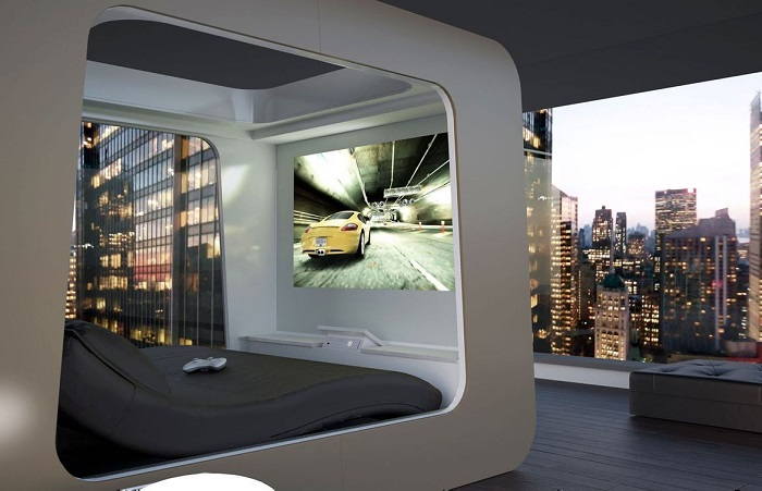 Высокотехнологичное дизайнерское спальное место, которое оборудовано встроенной стереосистемой, регулируемым матрасом и большим плазменным экраном.