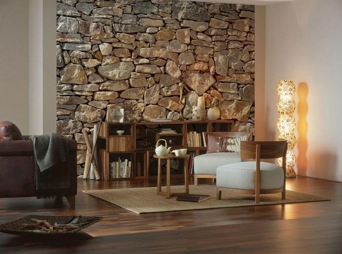 Декорирование стены в гостиной комнате при помощи натурального камня.