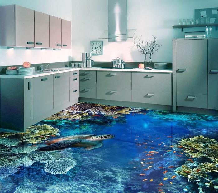 Современный наливной пол с изображением кораллового рифа и черепахи.