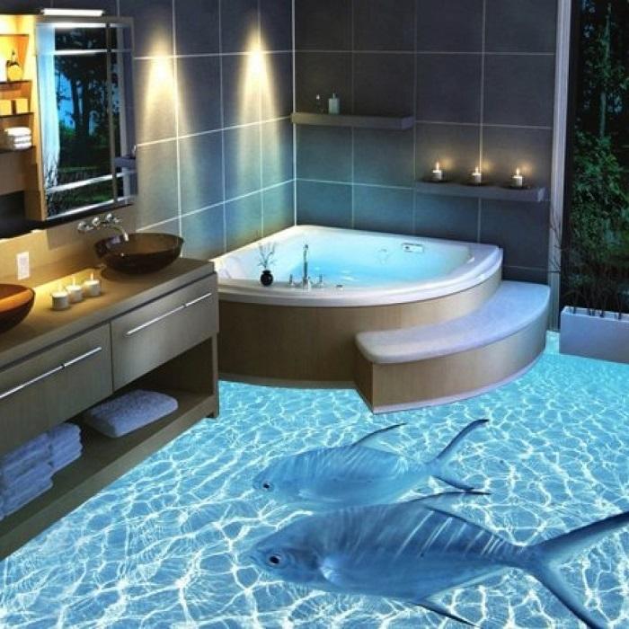3D наливной пол в ванной комнате с изображением рыб на фоне морского дна.