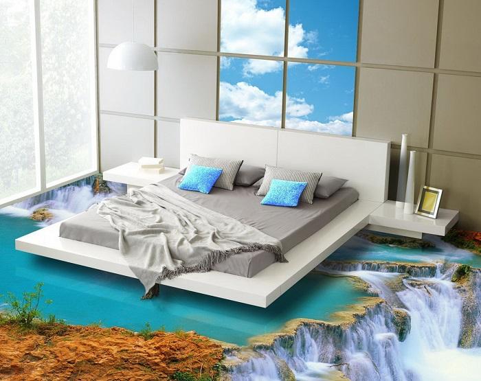 Эпоксидный наливной пол с изображением речного водопада.