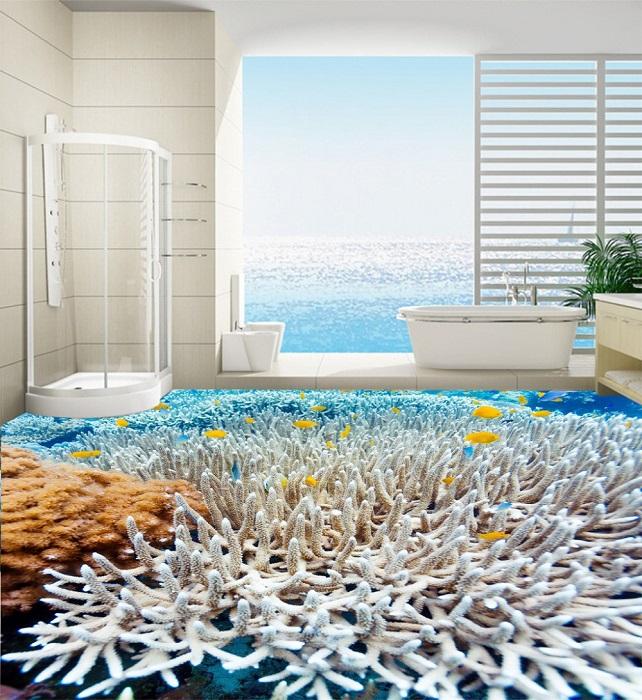 Наливной пол в ванной комнате может стать настоящей изюминкой.