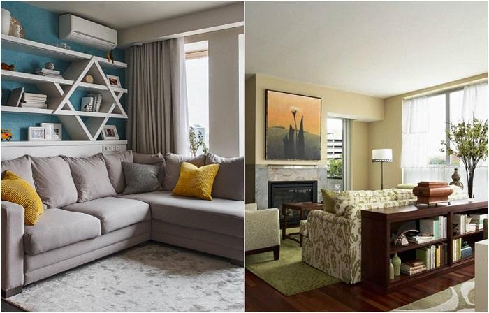 Идеи, как использовать свободное место за диваном.
