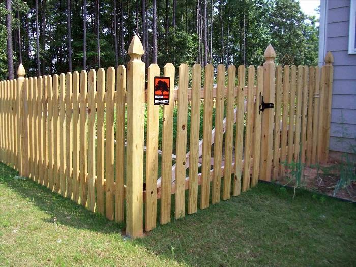Трендовым и дорогим материалом для возведения забора вокруг частного дома является древесина.