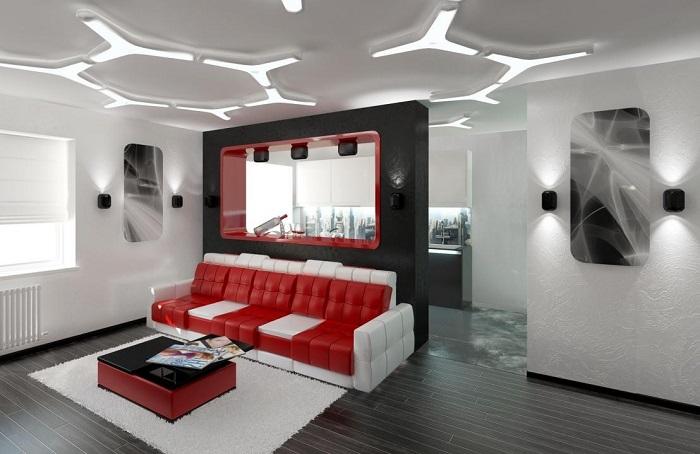 Современные дизайнерские люстры и светильники – эксклюзивные варианты освещения помещения в стиле хай-тек.