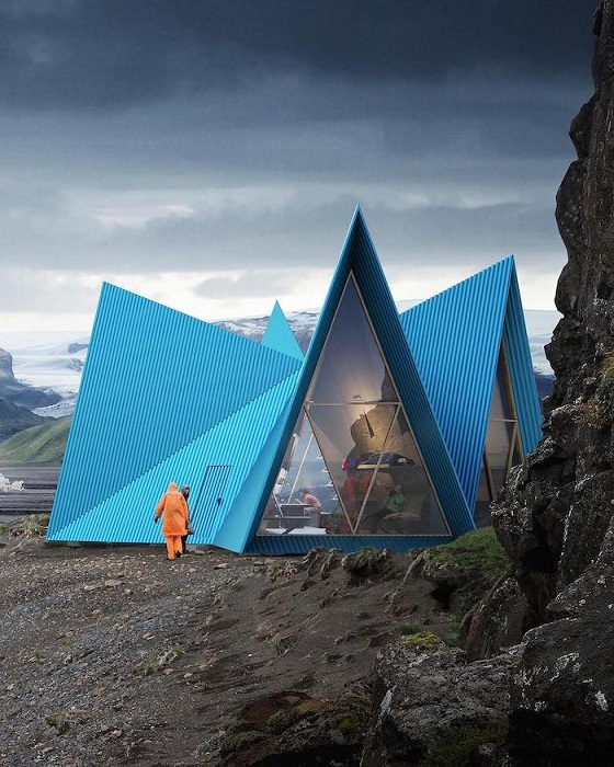 Треугольные фронтоны, напоминающие классическую палатку, Скандинавия.