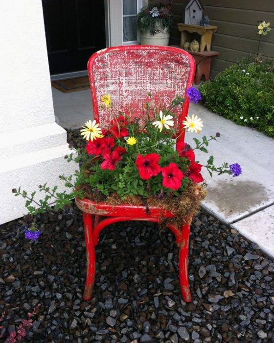 Старый деревянный стул можно превратить в компактную, но оригинальную грядку для цветов.