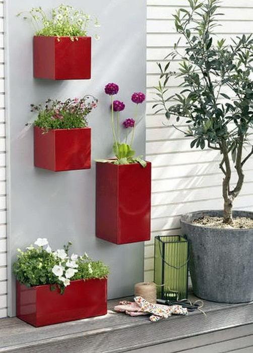 Отличный пример вертикального размещения комнатных растений, которые украсят любую стену.