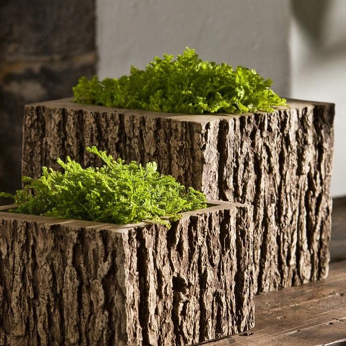 Деревянные вазы для комнатных цветов и растений из большого спила.