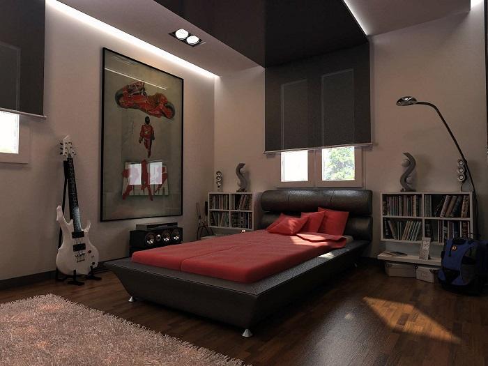 Подростковая спальная комната, в которой сочетаются сразу несколько стилевых направлений.