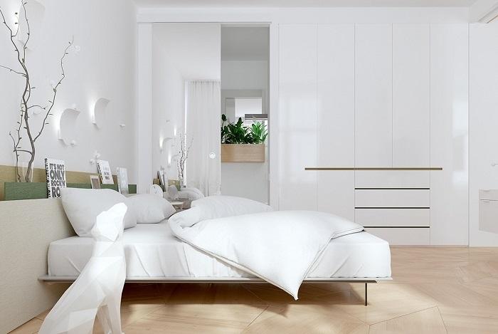 Трендовый интерьер спальной комнаты, который идеально подойдёт как для большого помещения, так и для маленькой комнатушки.