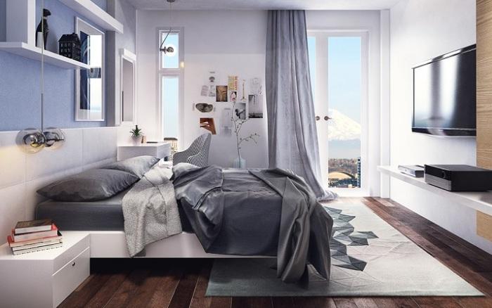 Применение хай-тек технологий в интерьере спальной комнаты.