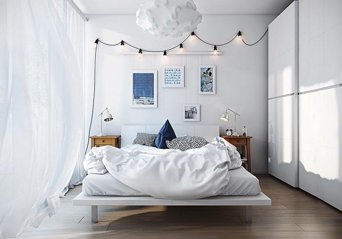 Светлая спальная комната, в которой ощущаешь атмосферу гармонии и уюта.
