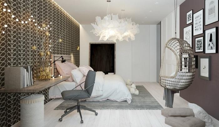 Правильно зонированное пространство в спальной комнате.